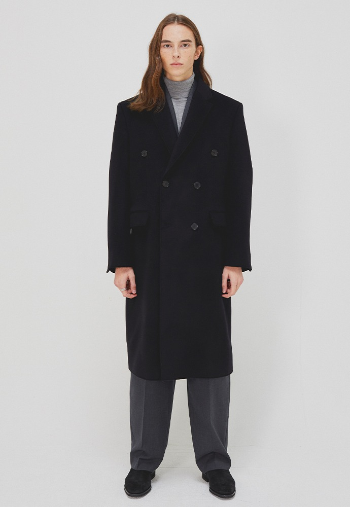 Essential Cashmere Cutting Double Coat_ Black