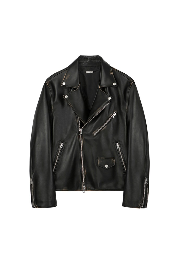 Port Crack Leather Biker_ Black Damaged