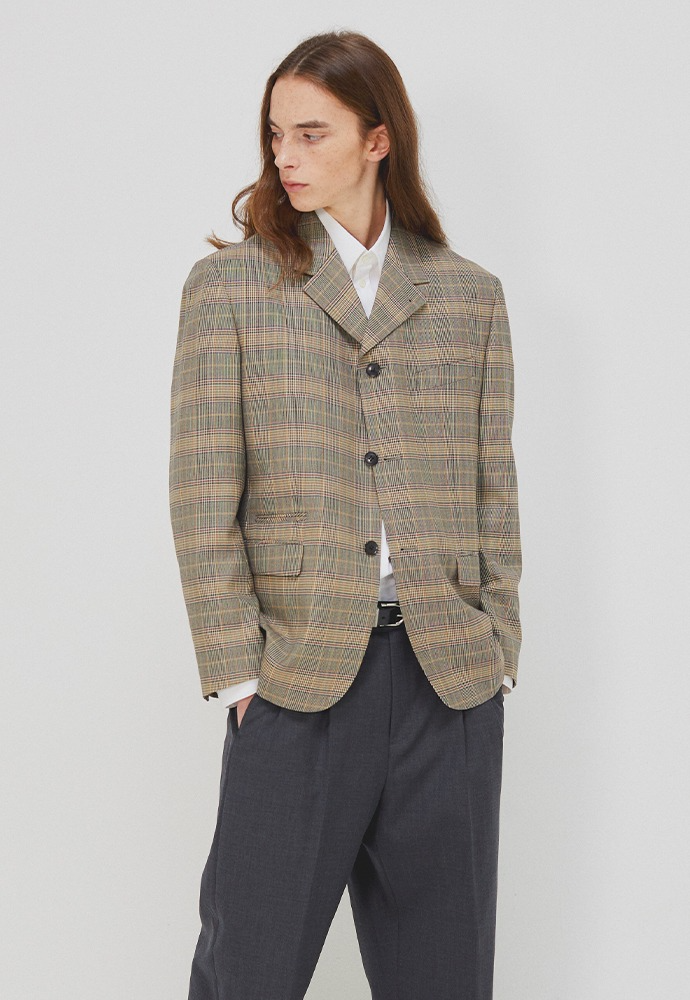 Wardrobe 3-button Blazer_ Beige Glen Check
