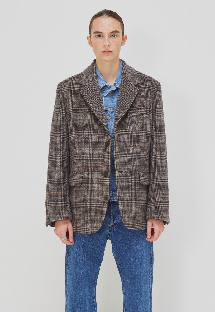 Archive Single Blazer_ Brown Glen Check (Australia Wool Winter Fabric)