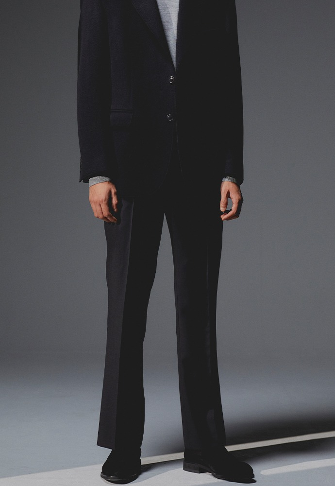 Dean Semi-Flared Wool Trousers_ Black