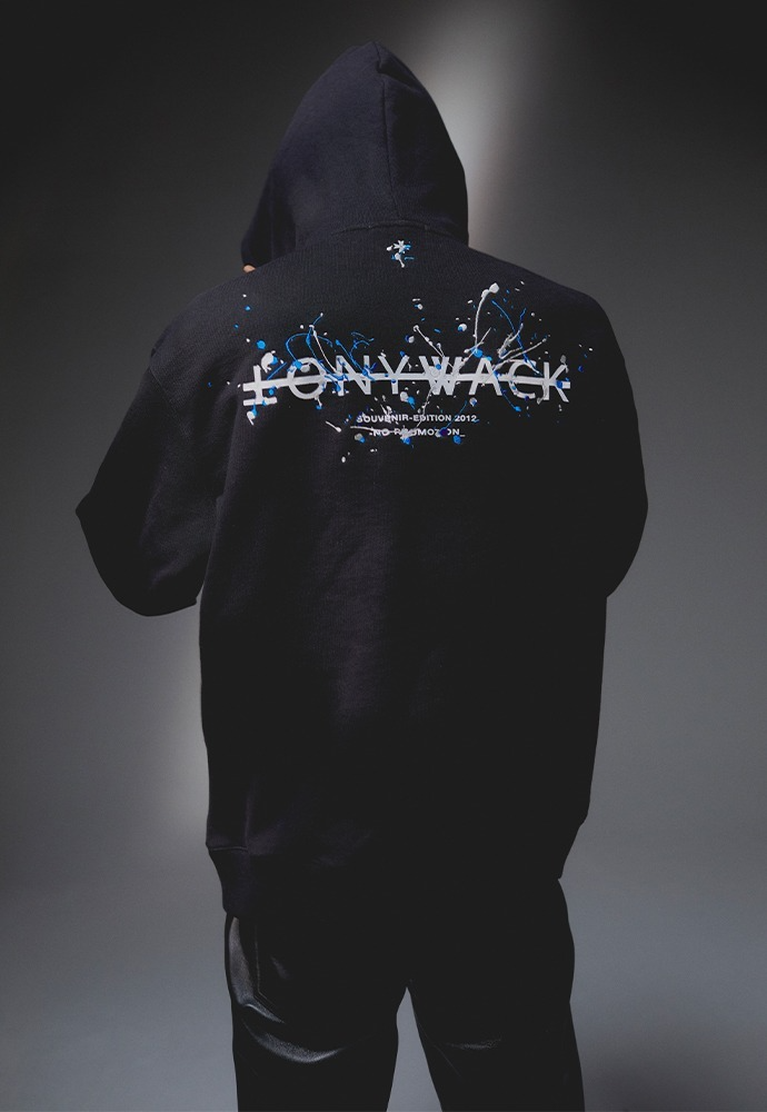 Paint Splatter Embroidery Hoodie_ Black (blue + off white)