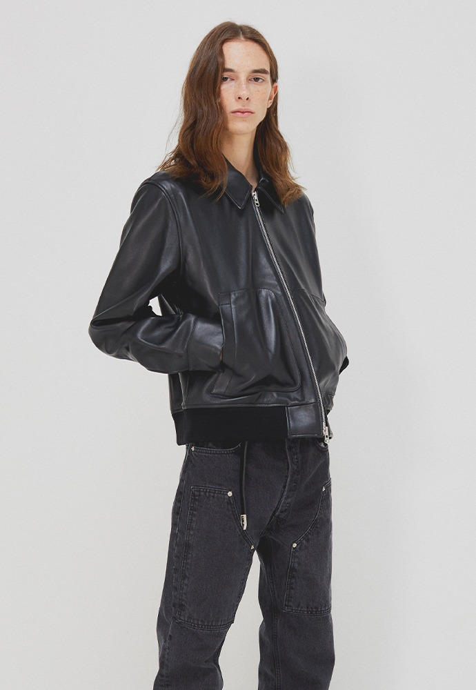 Port MA-1 Leather Blouson_ Black Lamb Leather