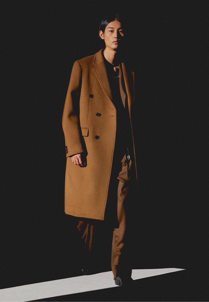 Essential Wool Double Coat_ Lux Brown (Australia Wool 100%)