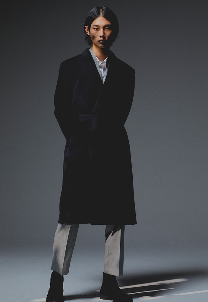 Crudo Cashmere Robe Coat_ Black