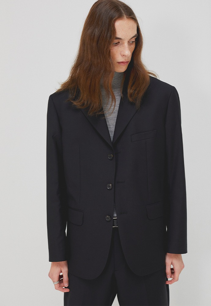 Crudo 3-button Single Blazer_ Black