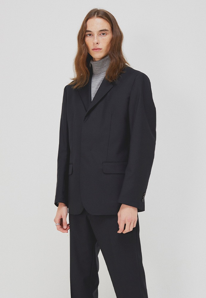 Clin Hidden-button Blazer_ Black