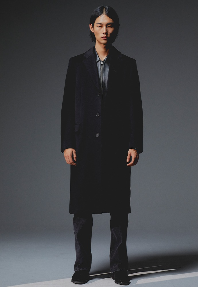 Crudo Cashmere Cutting Coat_ Black