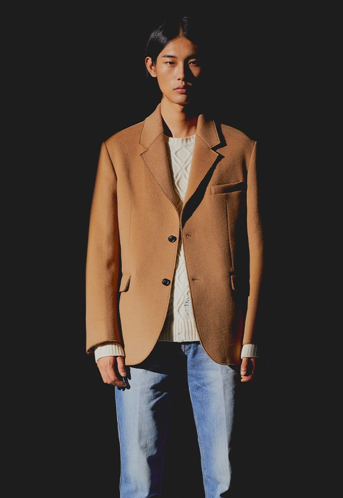 Archive Cashmere Cutting Blazer_ Camel