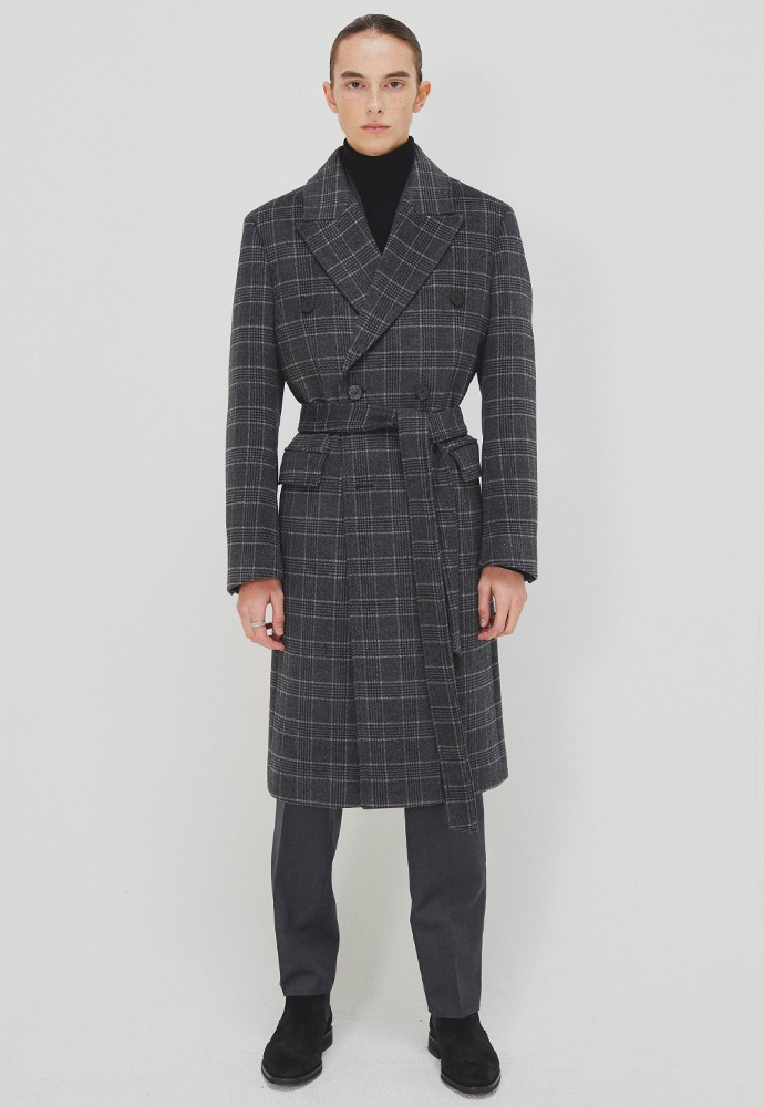 Crudo Check Double Coat_ Grey Check
