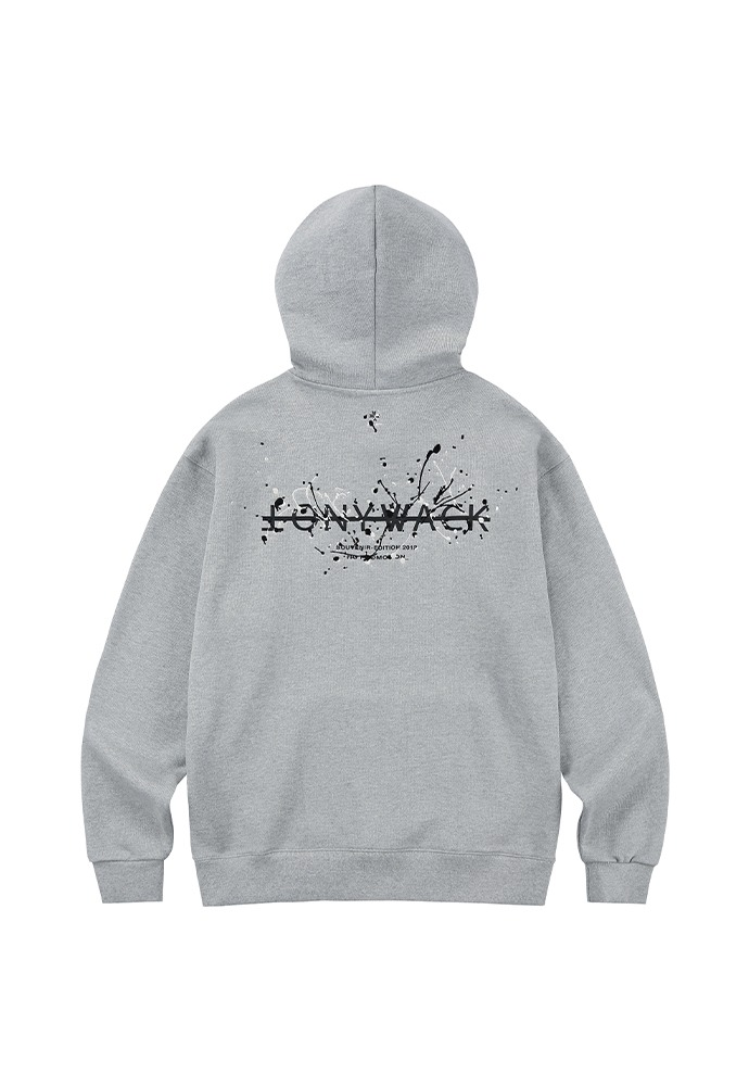 Paint Splatter Embroidery Hoodie_ Melange grey (cream + black)