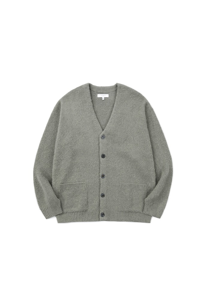 Light Mohair Patch-pocket Cardigan_ Olive Grey