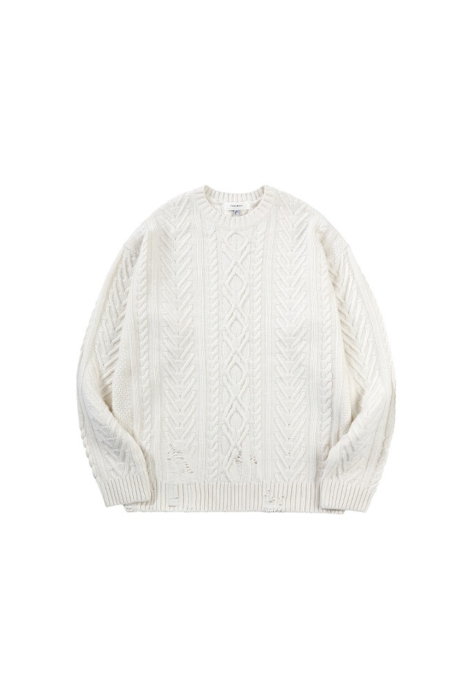 Patron Hand-painted Cable Knit_ Ecru