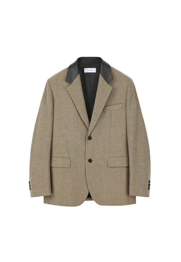 Tibi Leather Collar Blazer_ Retro Beige Check