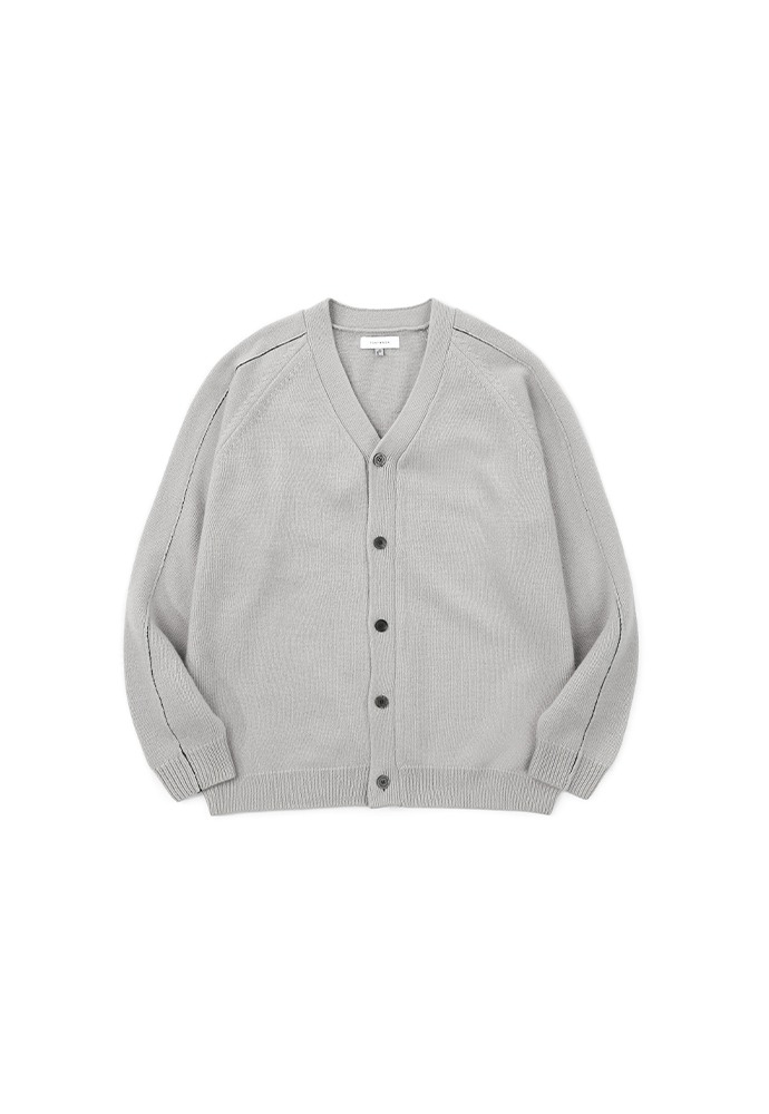 Raglan Stitch Cashmere Cardigan_ Smoky grey