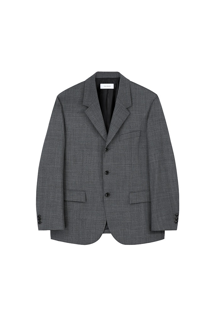 Crudo 3-button Single Blazer(high-twist wool 100%)_ Mid Grey Check