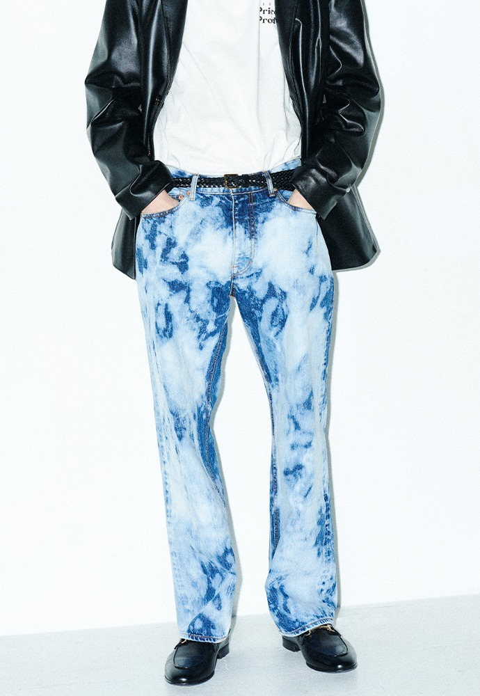 Indigo Tie-dye Relaxed Jeans_ Blue