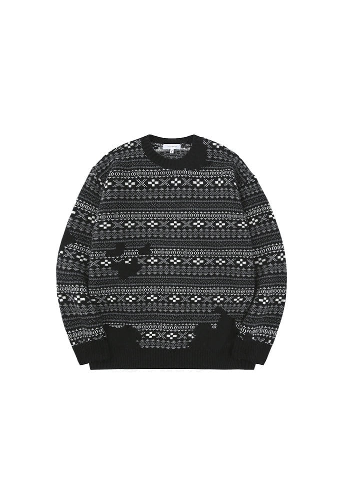 Flow Fair-isle Sweater_ Black