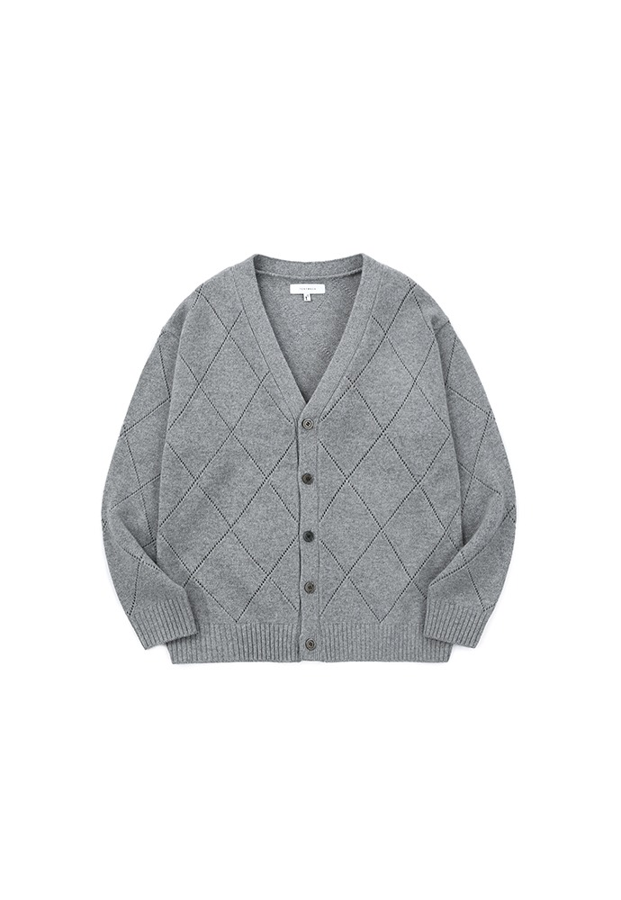 Slashed Argyle Cashmere Cardigan_ Grey