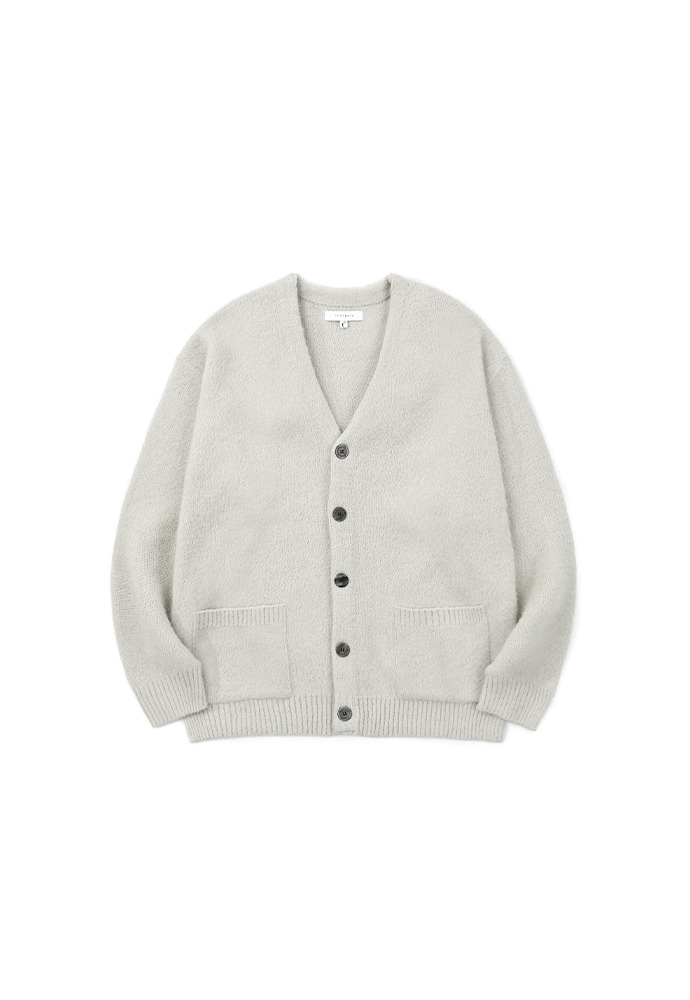 Light Mohair Patch-pocket Cardigan_ Arctic Grey