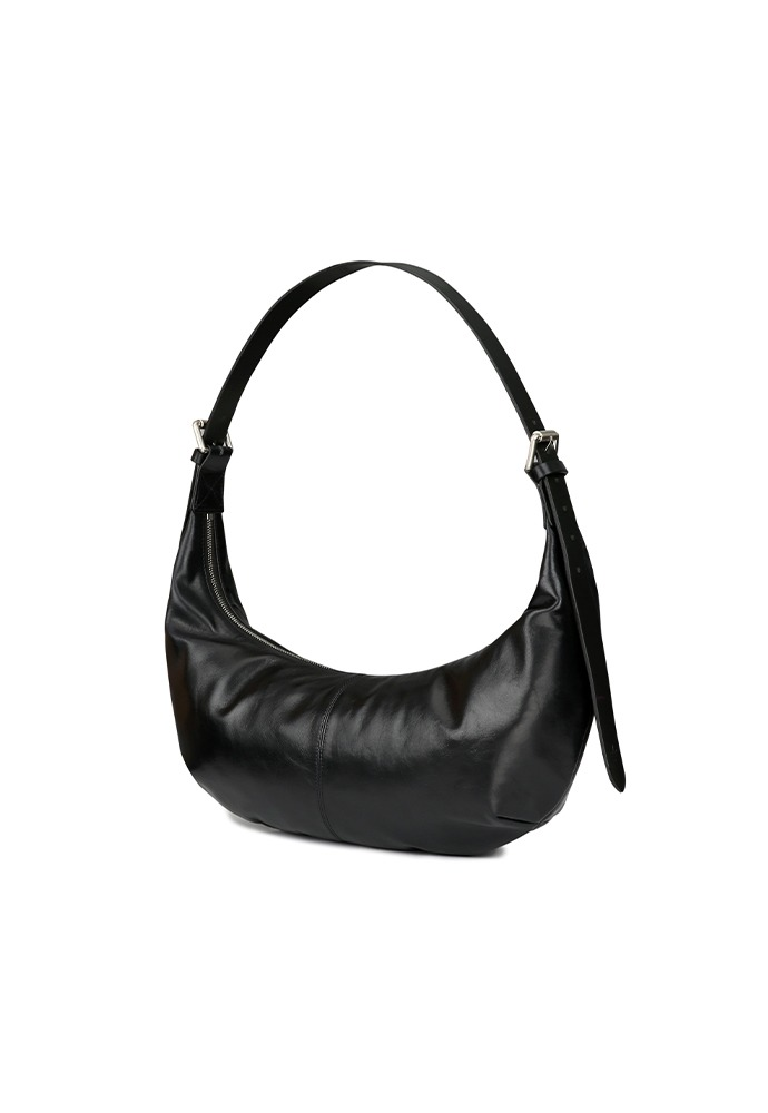 Calf Skin Hobobag_ Black