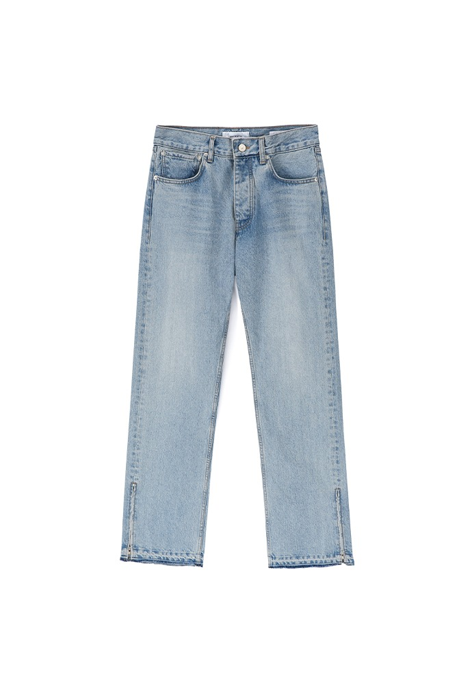 Side Zipped Denim Jeans_ Blue Washing